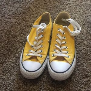Yellow converse shoes